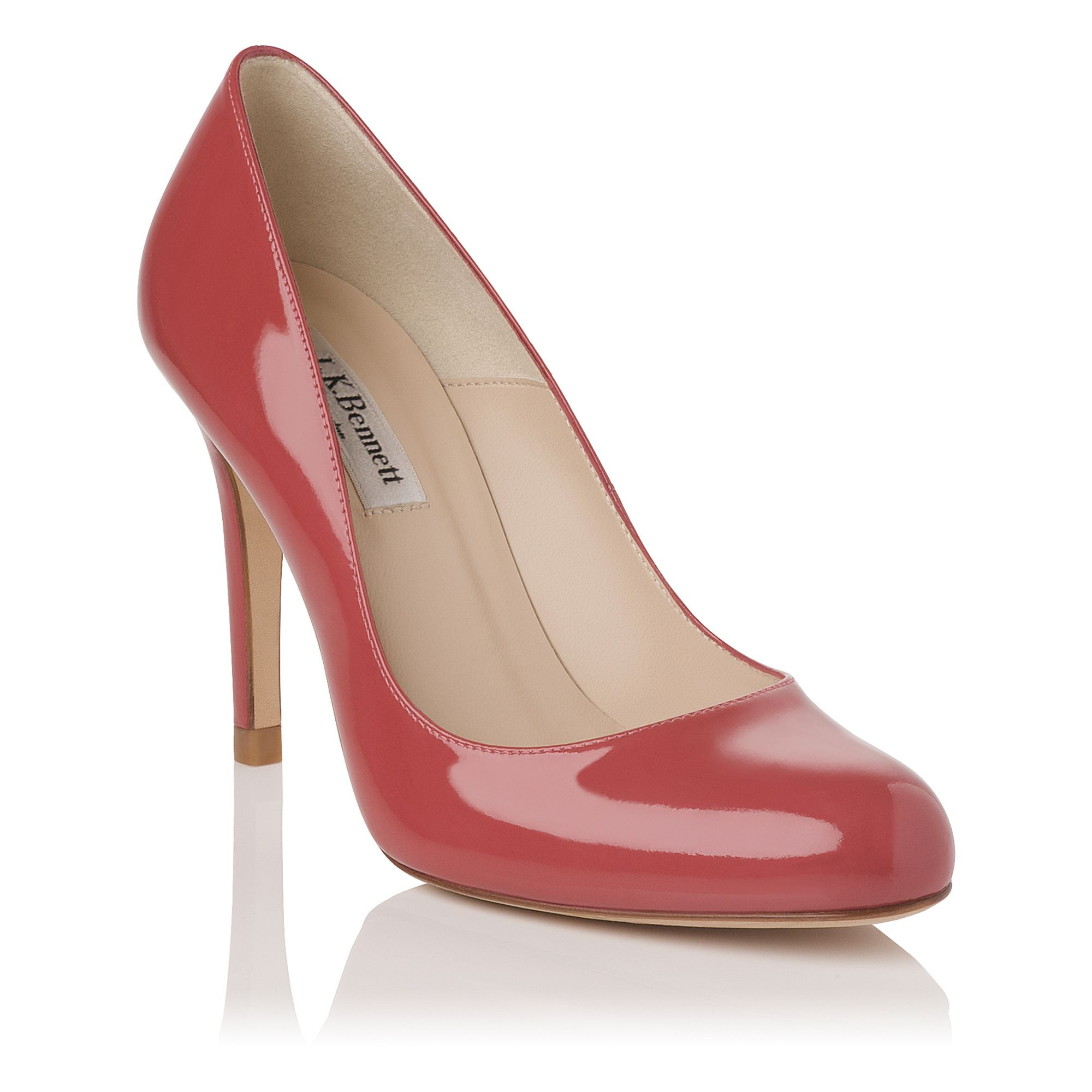 Red Leather High Heeled Court Shoes