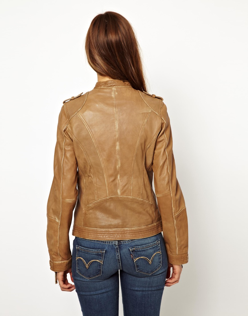 Lyst Pepe Jeans Leather Biker Jacket In Brown