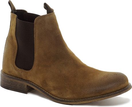fred perry selected homme suede chelsea boots in brown for men stone lyst. Black Bedroom Furniture Sets. Home Design Ideas