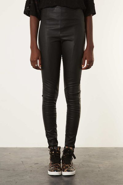 Topshop Tall Seam Detail Leather Look Trousers In Black Lyst