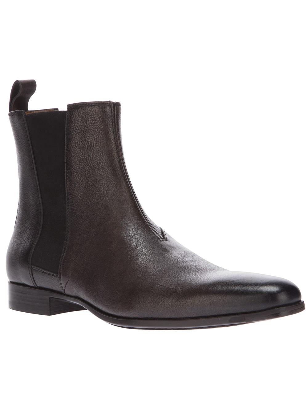 Santoni Chelsea Boot In Black For Men Brown Lyst