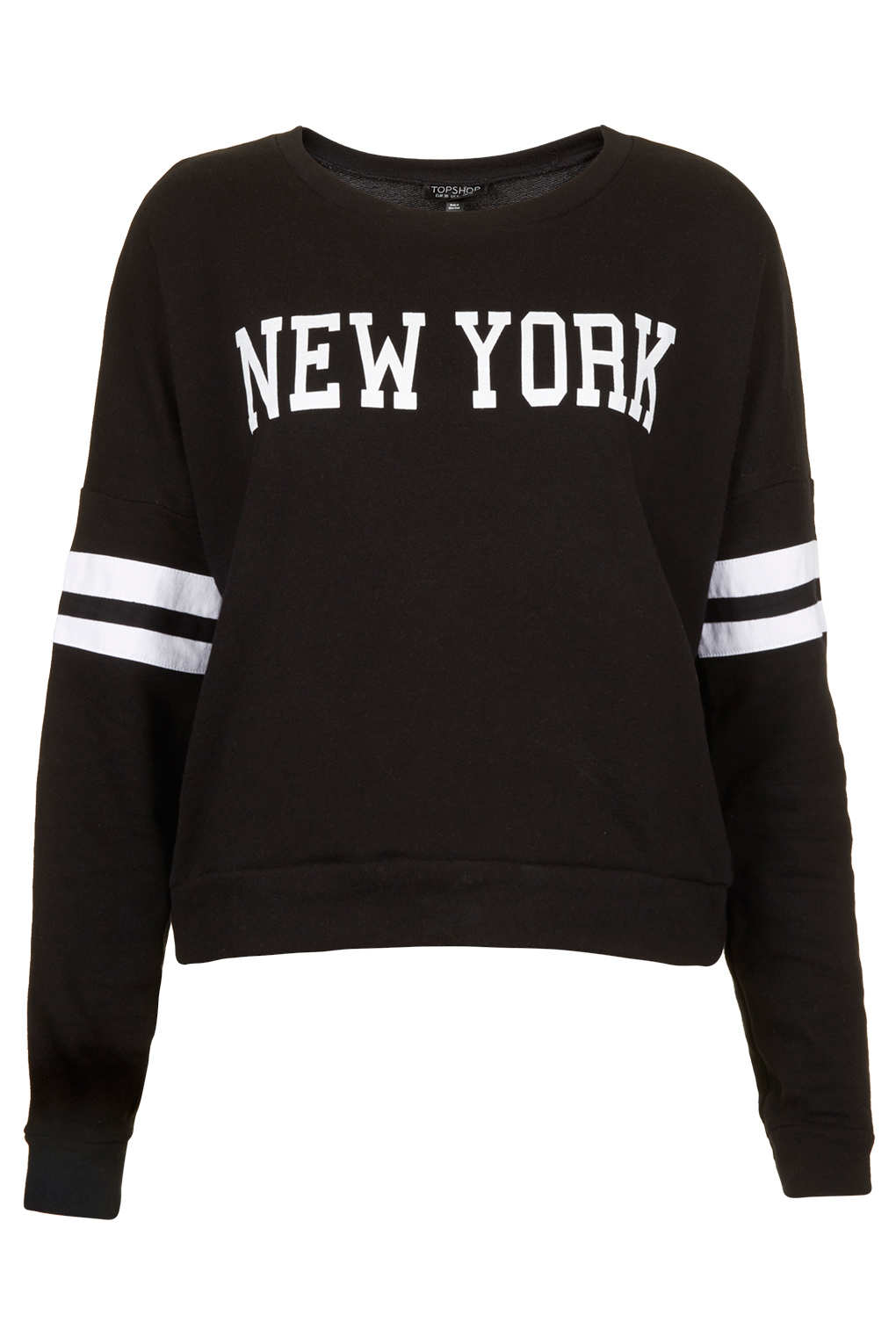 lyst topshop new york long sleeve sweat in black. Black Bedroom Furniture Sets. Home Design Ideas