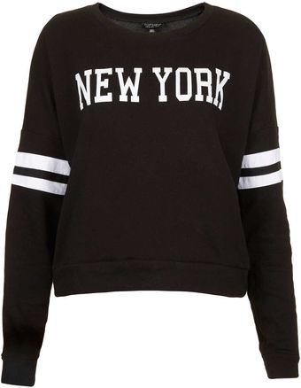 Topshop New York Long Sleeve Sweat - Lyst