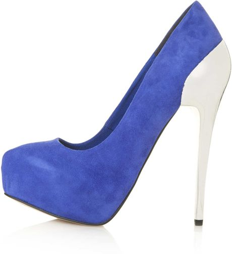 topshop sabrina cup heel platform shoes in blue cobalt