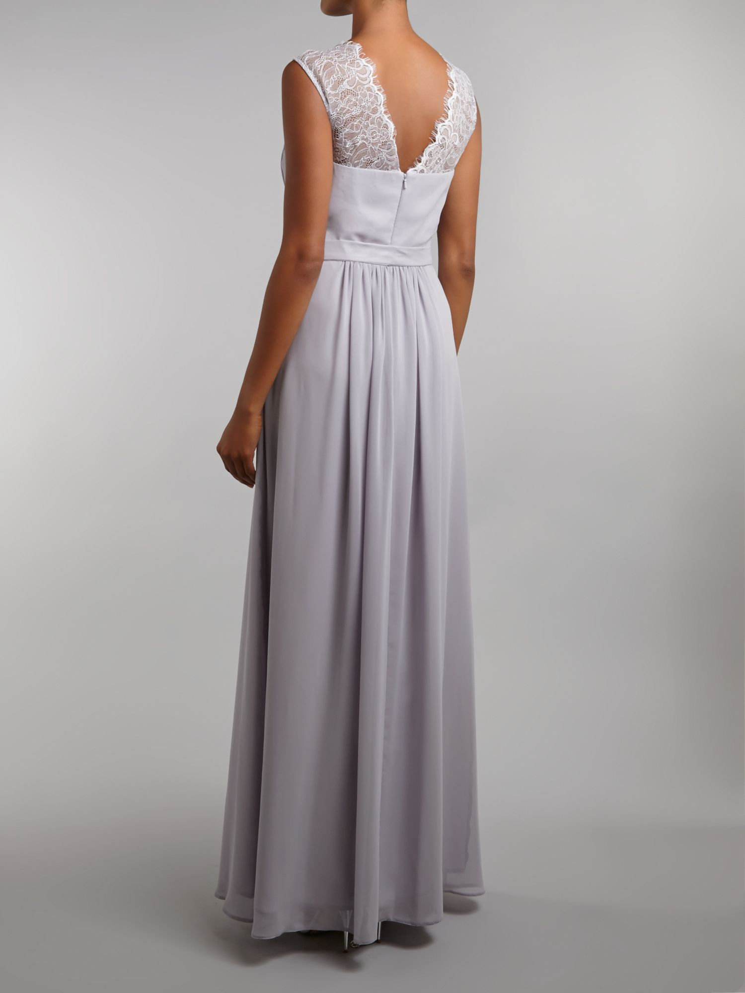 Ariella bridesmaid lace chiffon maxi dress in gray lyst for Lace maxi wedding dress