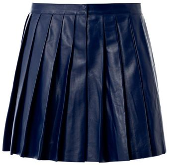 Derek Lam Pleated Leather Mini Skirt - Lyst