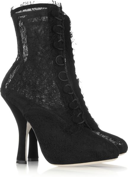 Dolce & Gabbana Lace Calf Boots in Black - Lyst