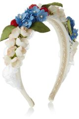 Dolce & Gabbana Embellished Silk and Cotton Blend Headband - Lyst