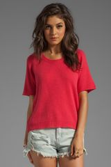 Enza Costa Cashmere Knit Cashmere Short Sleeve Raglan in Red - Lyst