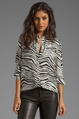 Juicy Couture Boho Shirting Print Blouse in White - Lyst