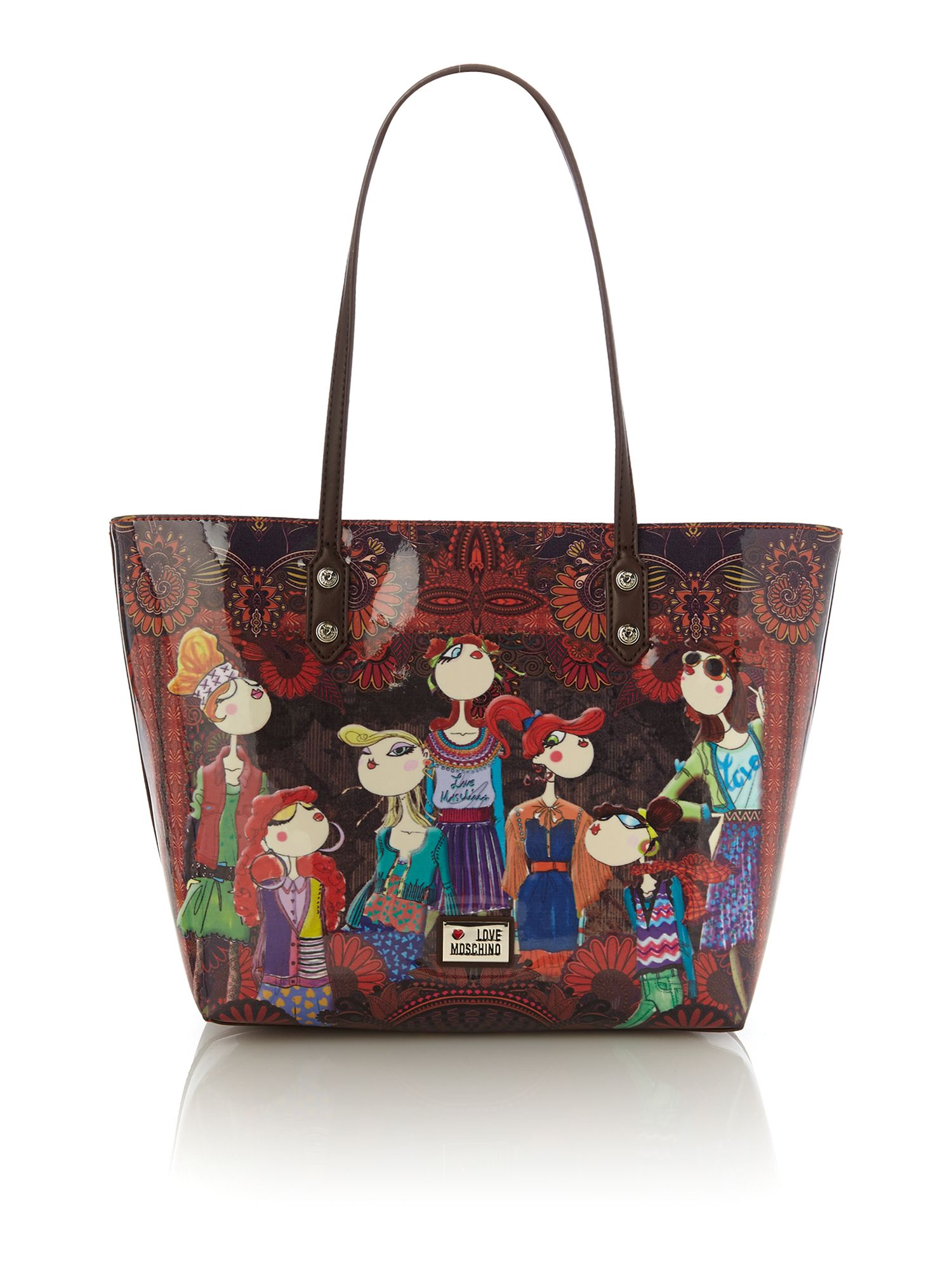 lyst love moschino charming multi coloured tote bag. Black Bedroom Furniture Sets. Home Design Ideas