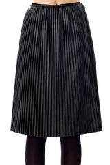 MSGM Pleated Faux Leather Skirt - Lyst
