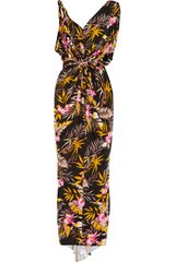 T-bags Floralprint Stretchsatin Jersey Maxi Dress - Lyst