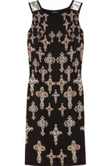 Versace Metalembellished Printed Silk Dress - Lyst