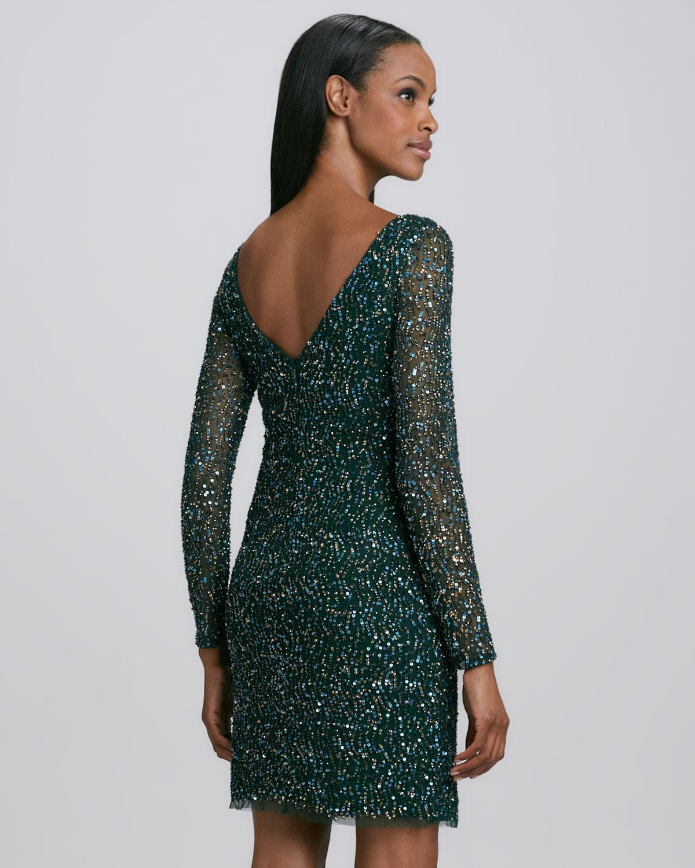 Aidan mattox sequined long sleeve cocktail dress