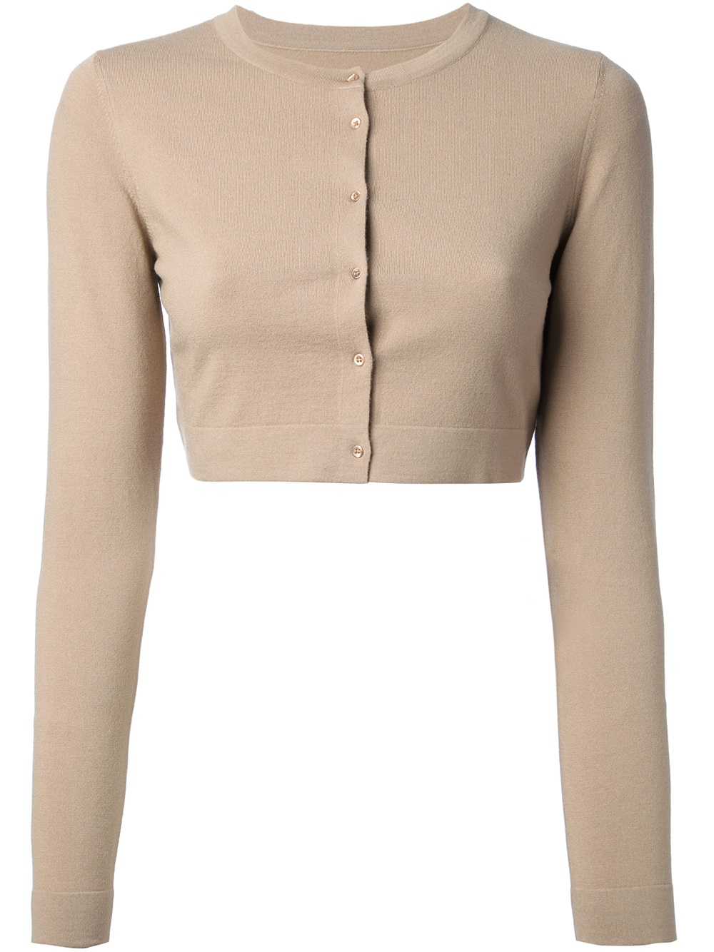 Alaïa Cropped Cardigan in Natural | Lyst