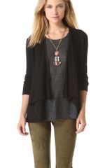 Alice + Olivia Cardigan with Leather Trim - Lyst