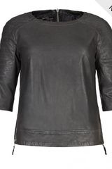 AllSaints Biker Leather Top - Lyst