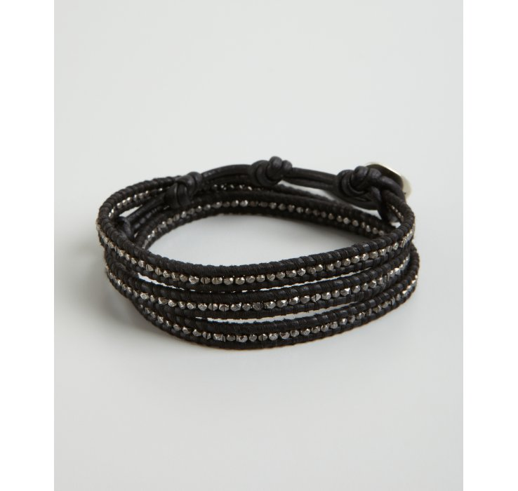Chan luu Black Leather and Sterling Silver Bead Wrap ...