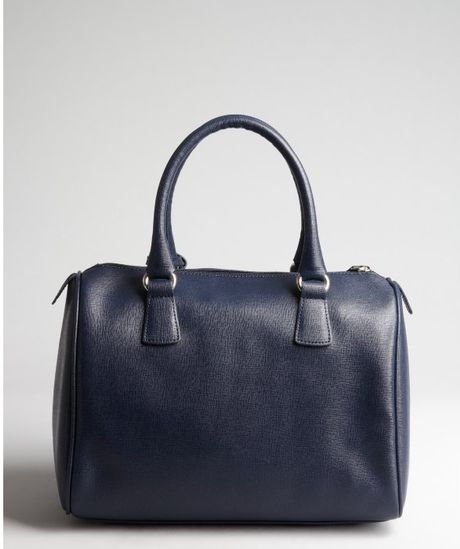 Furla Navy Cross-hatched Leather Dlight Bauletto Bag in Blue (navy)