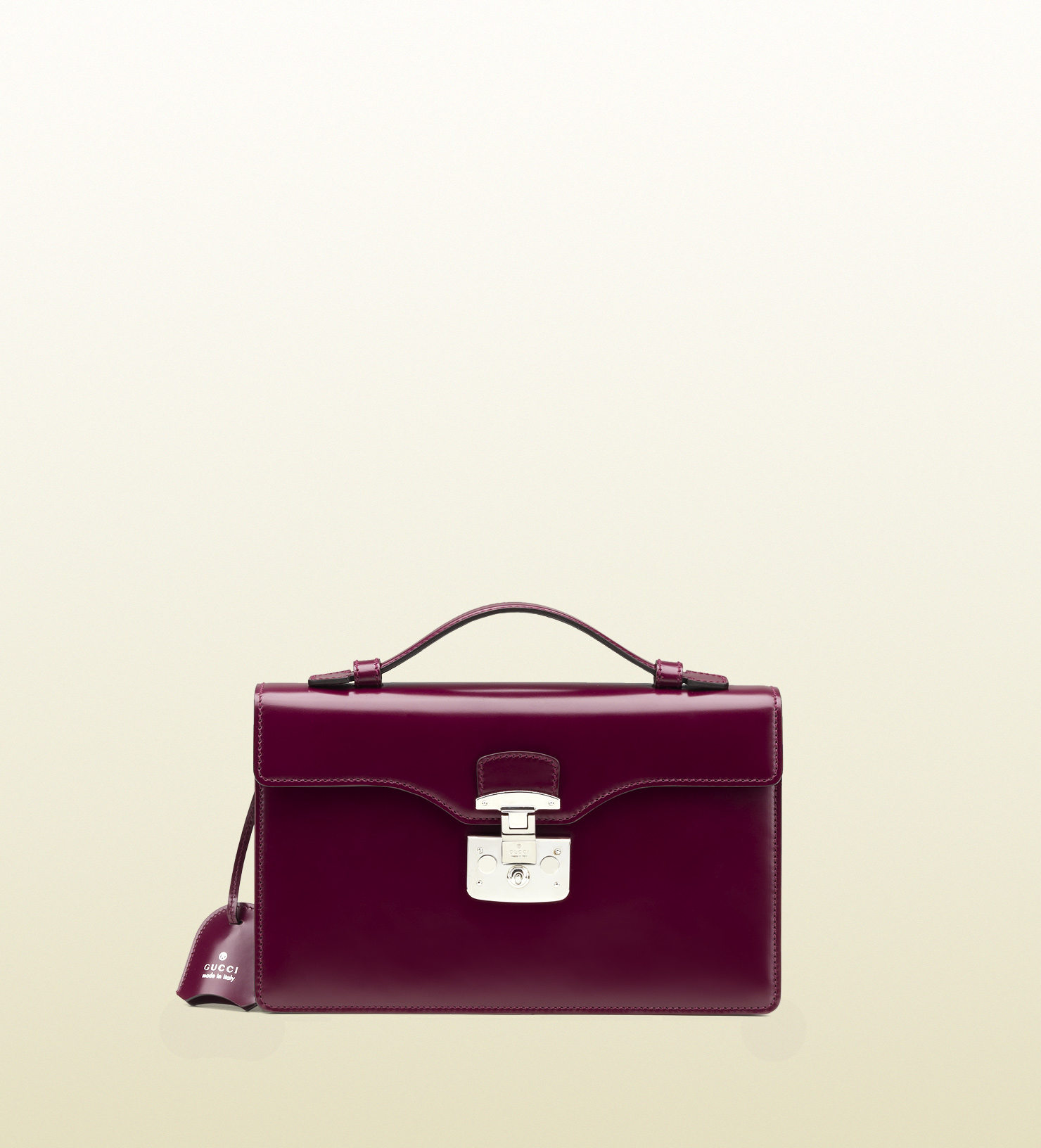 5a2d21b172c Lyst - Gucci Lady Lock Leather Briefcase Clutch in Purple