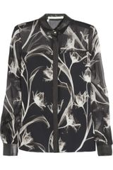 Jason Wu Leather-trimmed Silk-chiffon Shirt - Lyst
