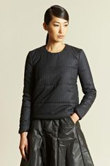 J.W. Anderson Long Sleeved Quilted Pinstripe Top - Lyst