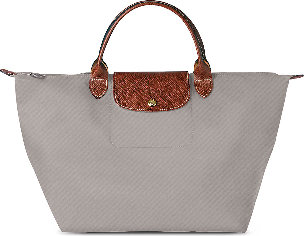 longchamp le pliage medium handbag in argile in gray. Black Bedroom Furniture Sets. Home Design Ideas
