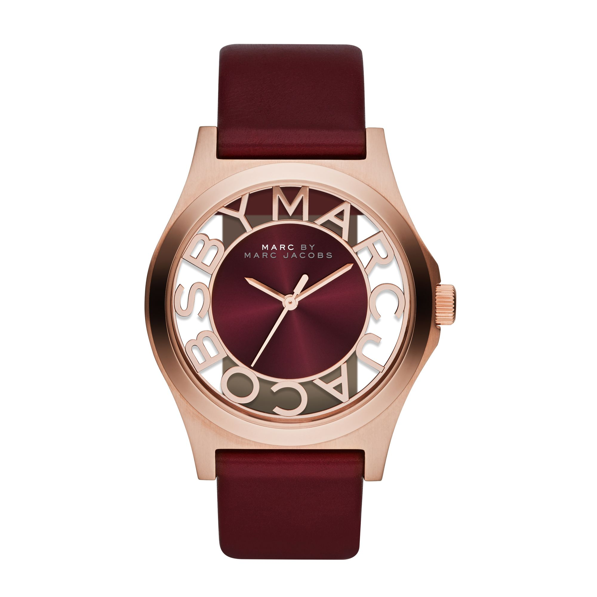 marc by marc jacobs henry maroon leather ladies watch in purple maroon lyst. Black Bedroom Furniture Sets. Home Design Ideas
