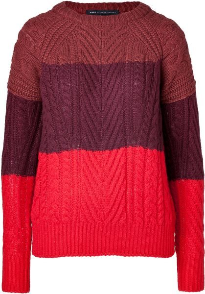 marc by marc jacobs wool blend pullover in corvette red multi in red lyst. Black Bedroom Furniture Sets. Home Design Ideas