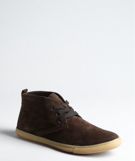 prada sport brown suede lace up ankle boots in brown for