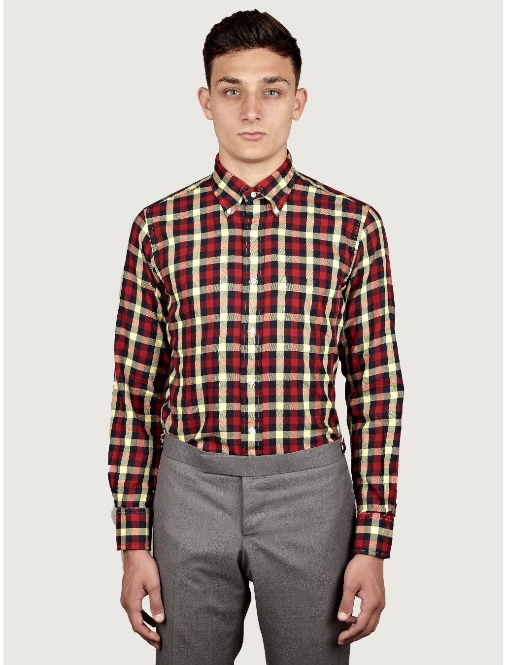 Thom Browne Mens Gingham Check Flannel Shirt in Red for Men ...