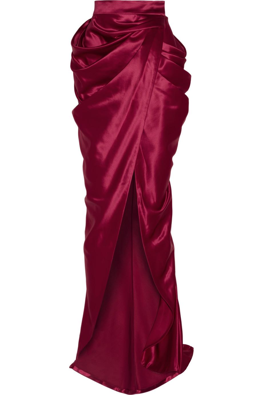 balmain draped wool and silkblend satin wrap maxi skirt in