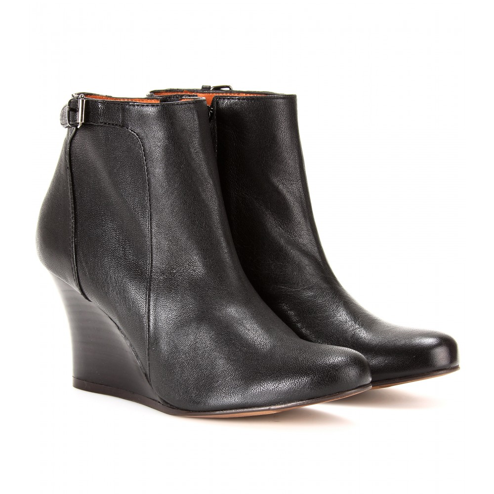 Lanvin Leather Wedge Ankle Boots in Black | Lyst
