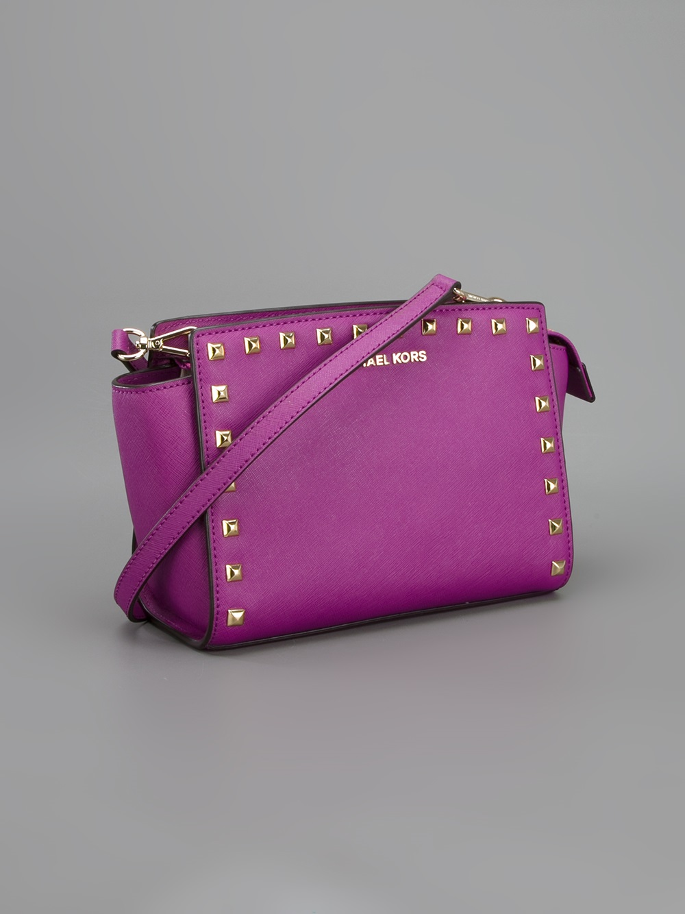 e67d95eeec92 ... coupon code lyst michael michael kors selma studded cross body bag in  purple 61964 7194f