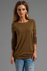 Michael Stars Long Sleeve Slim Crew Neck with Elbow Patches in Army - Lyst