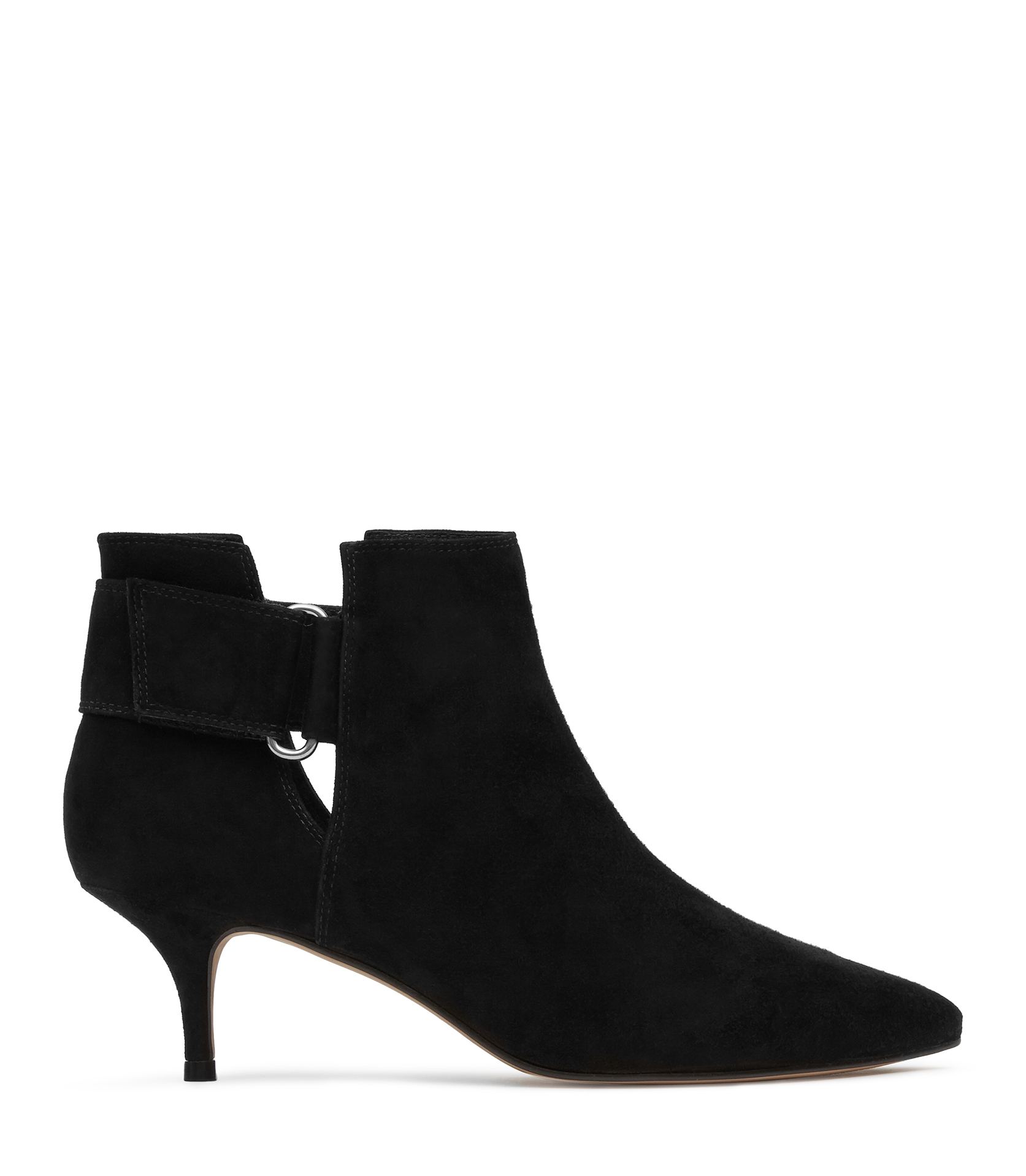 lyst reiss tiffany kitten heel cutout boots in black
