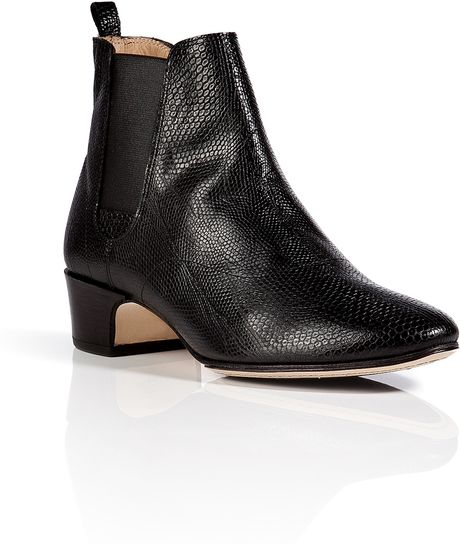 repetto embossed leather chelsea boots in black in