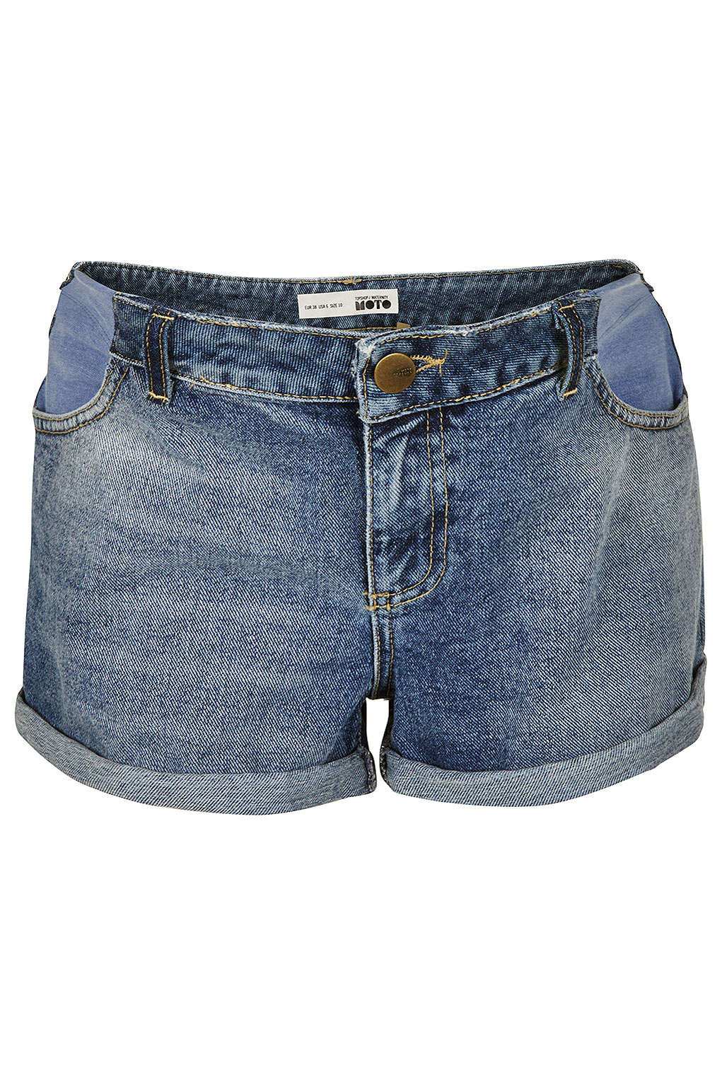 Topshop Maternity Mid Blue Denim Shorts in Blue | Lyst