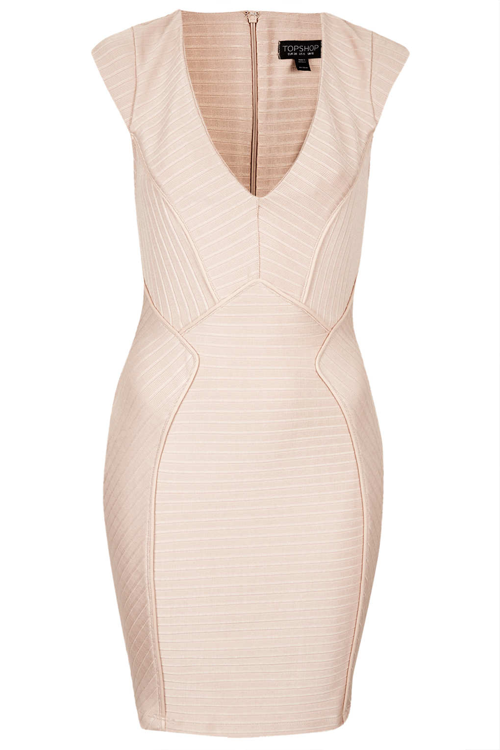 Lyst Topshop Ribbed V Bandage Bodycon Dress In Natural