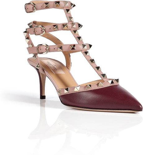 valentino leather rockstud kitten heels in purple wine lyst. Black Bedroom Furniture Sets. Home Design Ideas