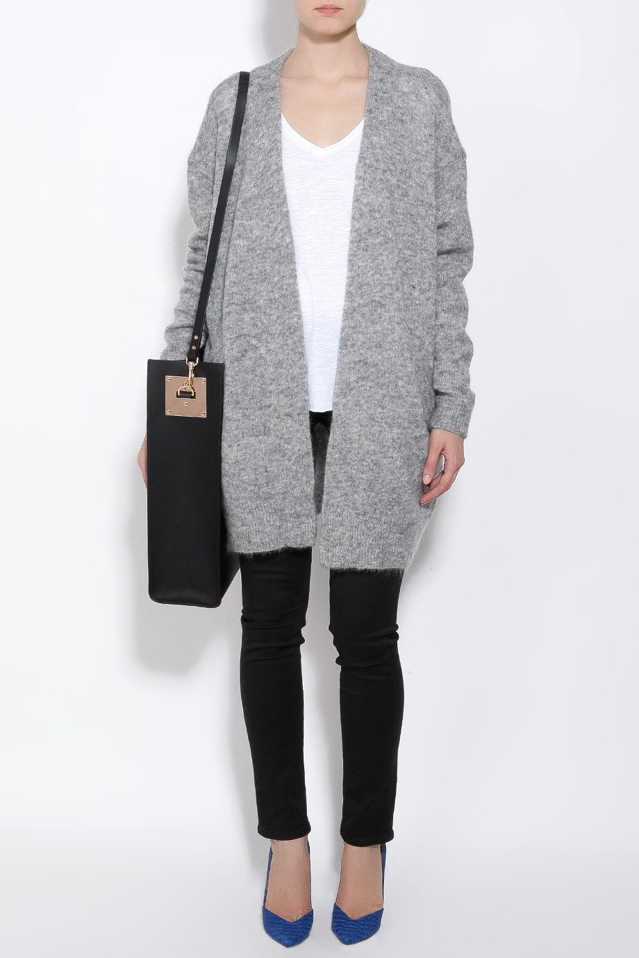 Acne studios Raya Mohair Long Cardigan in Gray | Lyst