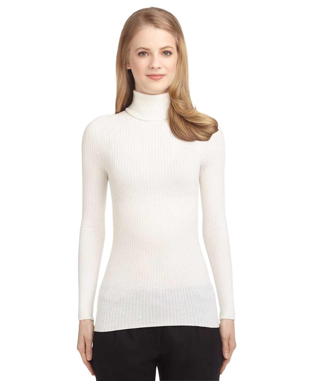 Brooks brothers Ribbed Turtleneck Sweater in White | Lyst