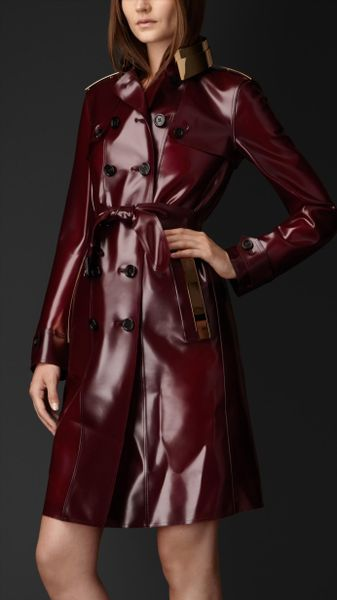 Burberry Metal Plate Rubber Trench Coat In Red Oxblood
