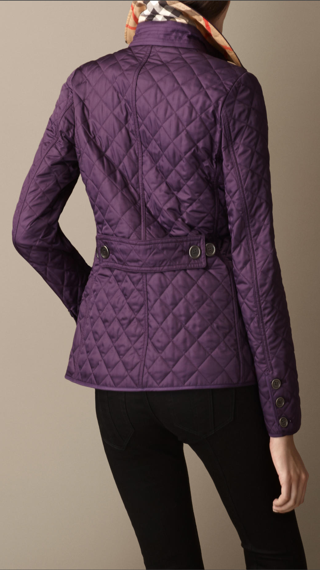 Lyst - Burberry Cinched Waist Quilted Jacket in Purple : purple quilted jacket - Adamdwight.com