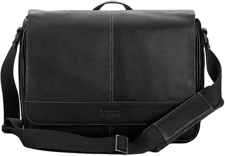 Kenneth Cole Reaction Black Leather Messenger Bag in Black for Men - Lyst