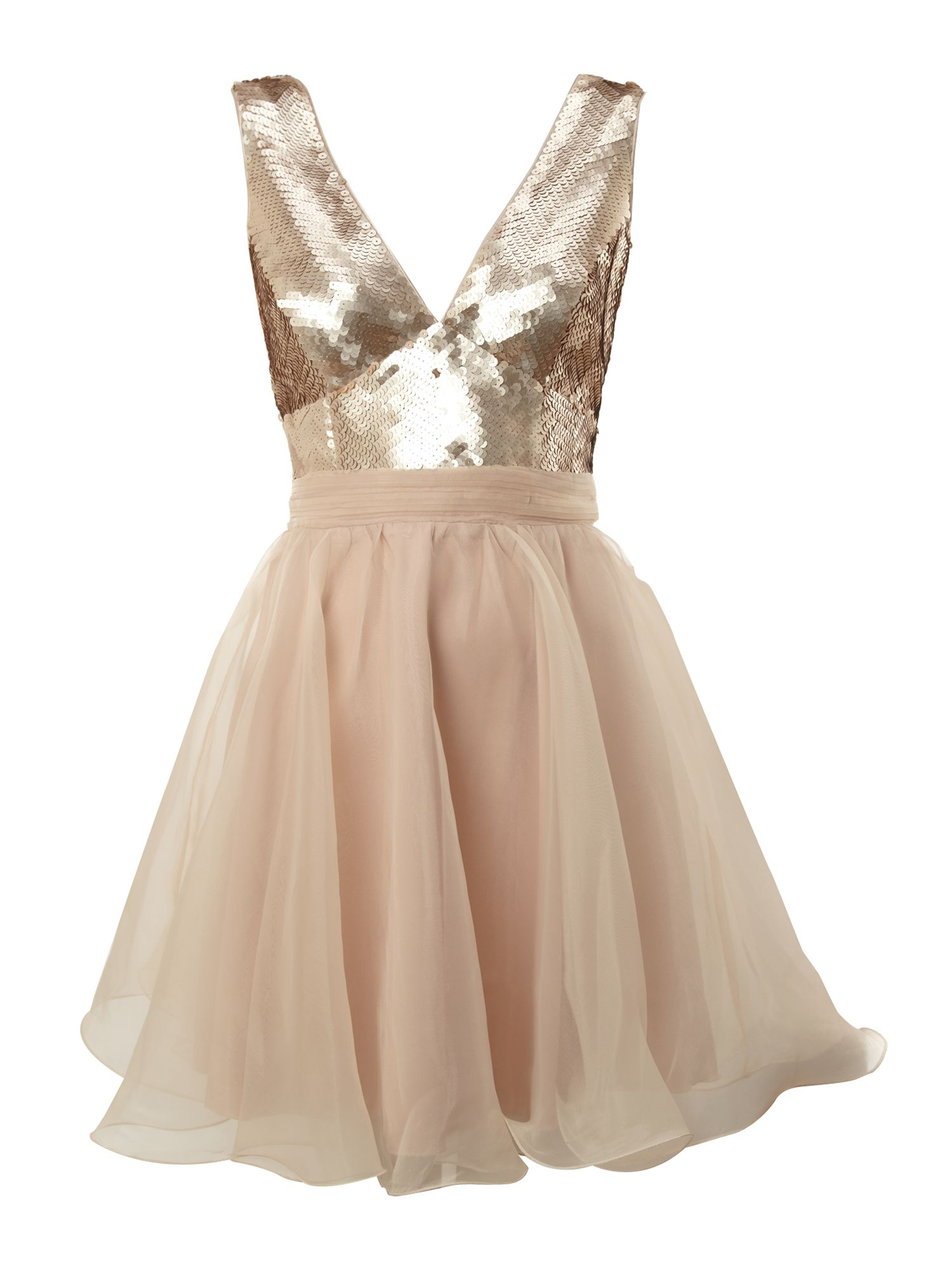 Lipsy Metallic Deep V Prom Dress in Gold (Rose Gold) | Lyst