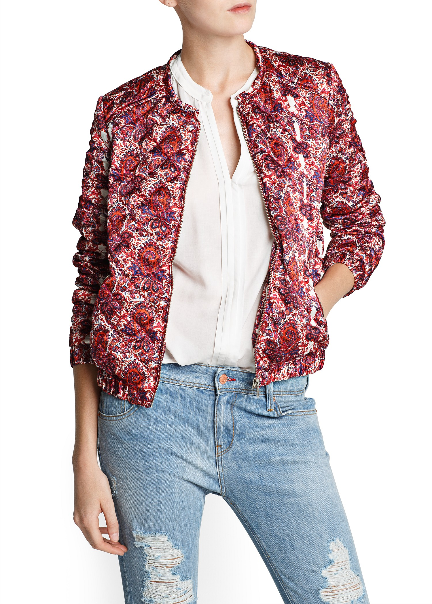 Mango Paisley Print Bomber Jacket in Red | Lyst
