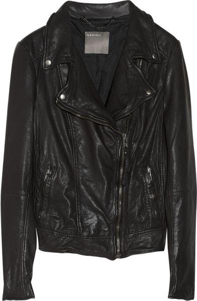 Muubaa Sabik Washedleather Biker Jacket in Black