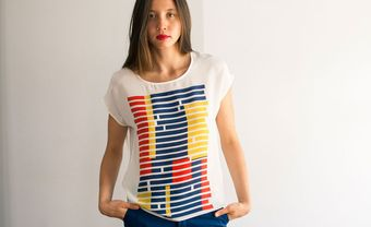 Rachel Rose Tricolor Broken Stripe Tee - Lyst